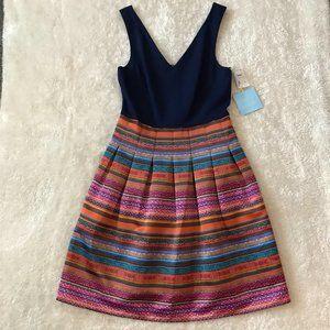 CeCe Cynthia Steffe Colorful Stripe Dress Pleat 8